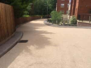 an anti-skid surface installed on a drive way